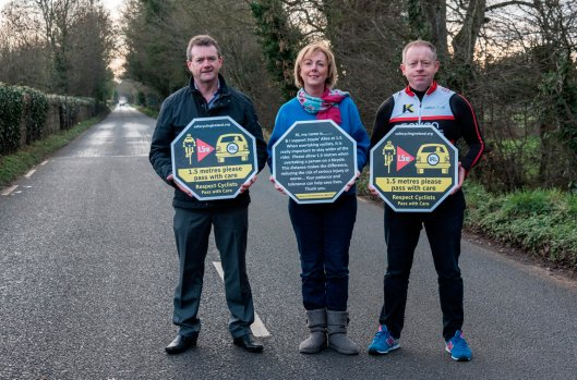 Pictured L-R: Cyclist Phil Skelton, Government Chief Whip and Meath East TD Regina Doherty, Fine Gael Galway East TD Ciaran Cannon