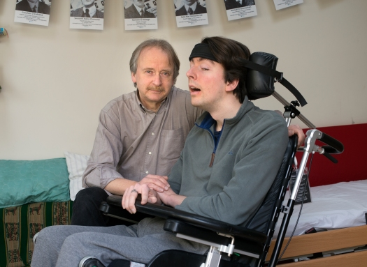 Reinhard Schaler with his son Padraig who suffered a severe brain injury while working in the USA. Photo: Tony Gavin 9/3/2018
